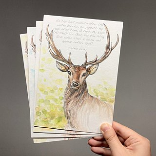 Hand painted watercolor European deer postcard