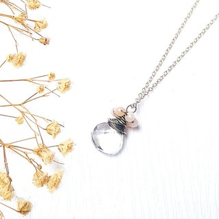 <Pet Series-Pure> White Crystal Cut Flour Opal 925 Sterling Silver Necklace Customized Tanabata