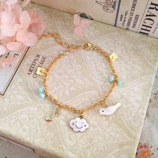Garohands smiling cloud Duo Haibei bird notes wheel bead small flower bracelet B313 feel pure and lovely gift
