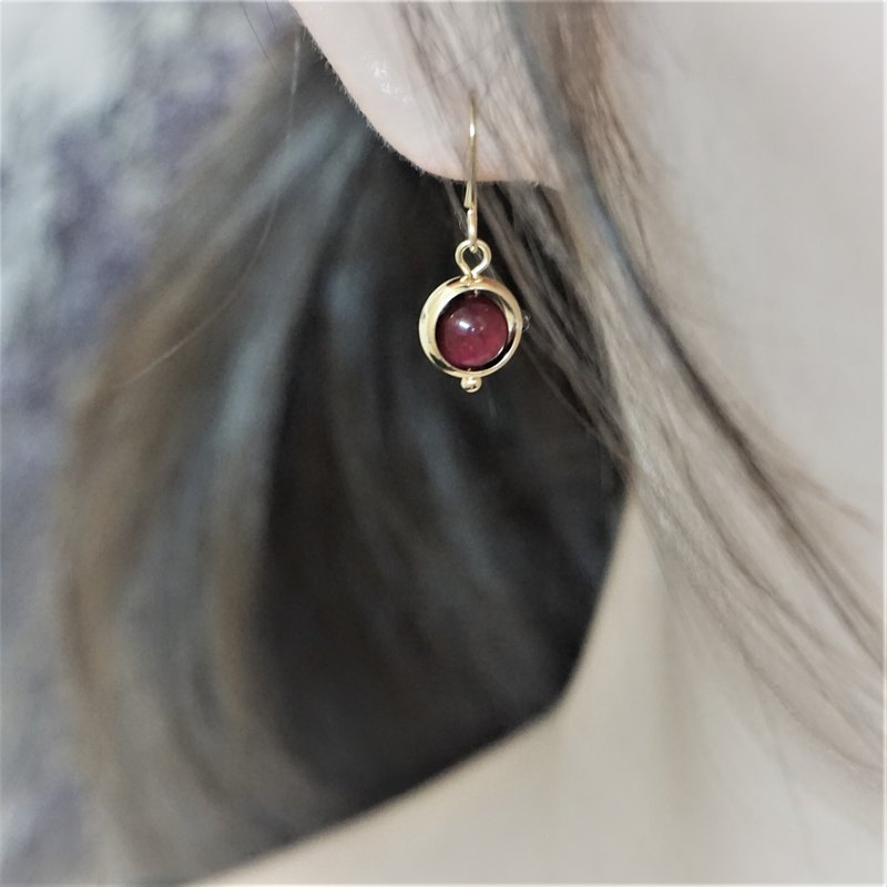 << Pink Longing-Dangle Earrings >> Pink Tiger Eye Dangle Earrings (Can Change Ear Clip) / Pair