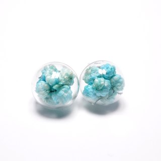 A Handmade millet flower color blue glass ball earrings