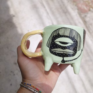 Ceramic mug green paint mermaid :)