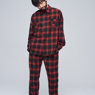Plaid wide shirt 9126