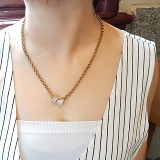 Geometry ◆ Roller / Triangle / Shaped Drill / Zircon / Brass / Gorgeous / Hand / Personality Medium Long Necklace Gift