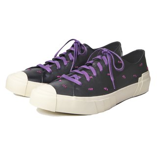 Polka Stitch M1183 BlackPurple Leather Sneaker