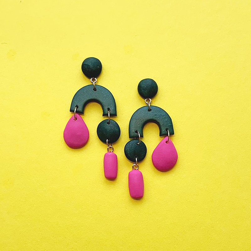 Maureen-Rita's Attachment Series (Dark Green×Peach Red) Handmade Soft Pottery Earrings