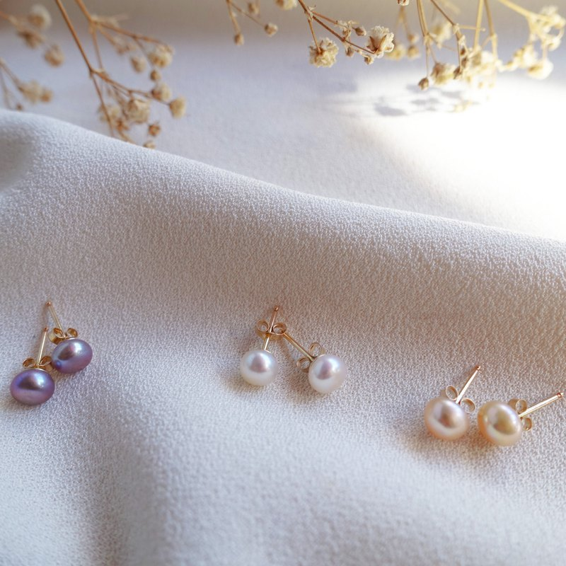 Miluku 14kgf pearl ear earrings