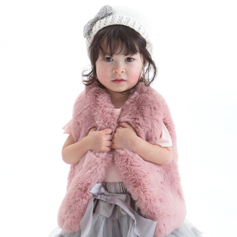 Cutie Bella保暖厚絨毛背心 仿毛皮草 Fur Vest-Pinky 乾燥玫瑰粉