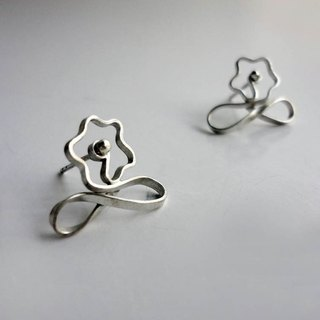 Angelic silver thread infinite flower section sterling silver earrings - ear needle