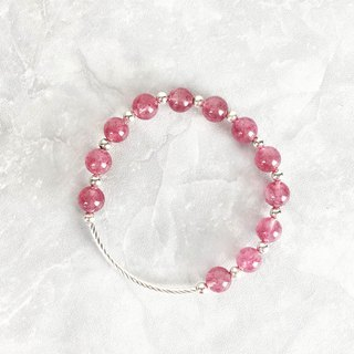 | Elbow Series | Enchanted Rose Red Strawberry Crystal (S925 Sterling Silver x Bracelet x Handmade x Customized.)
