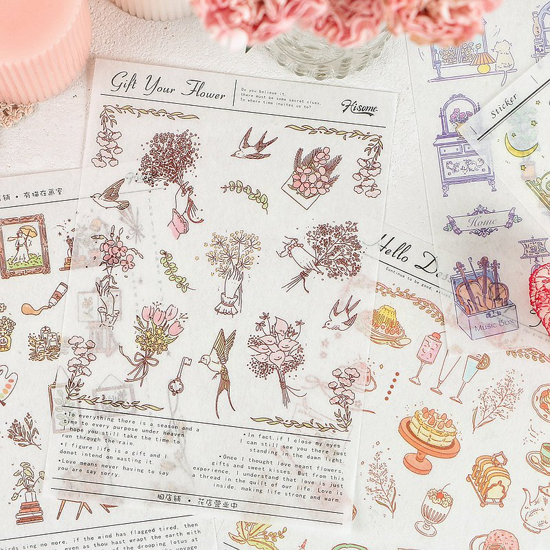Hisome Hi Mori Japanese paper stickers [Old Shop] material hand account decoration DIY stickers