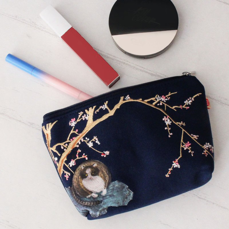 Cosmetic Bag-Cat and Red Plum Blossoms  Blue