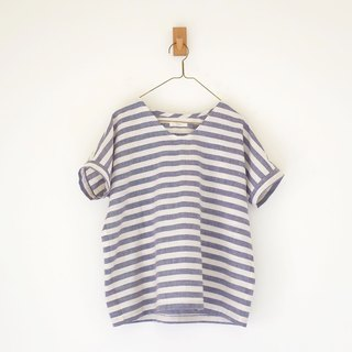 Daily hand-made clothes vintage blue small v daily short blouse hemp cotton