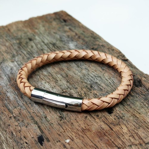 Simple Braided Bracelet (6 mm.) - Genuine Cow Leather Bracelet - Natural Color