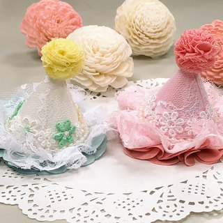 Yarn flower bud lace beaded hat child clip kid hairpin