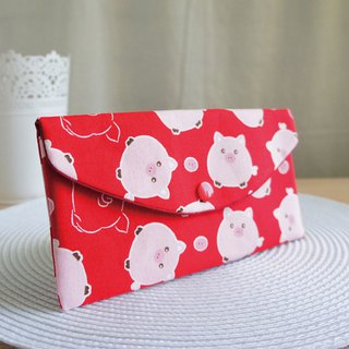 LovelyQ version [chubby full pig red bag] passbook set, cash storage bag, red