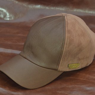 [MAJORLIN] baseball cap lambskin full leather leather front and leather back stitching modified face leather hat brown