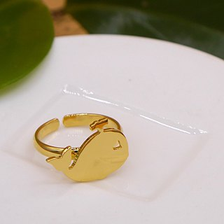 Handmade Little Whale Ring - 18K gold plated on brass
