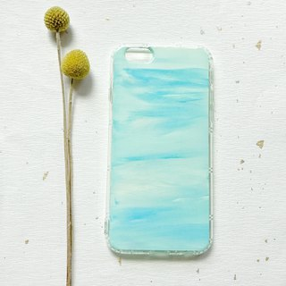 Mixed color blue hand-painted acrylic mobile phone shell shatter-resistant air shell