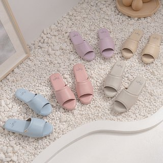 Leather indoor non-slip slippers (splendid forest) cherry powder