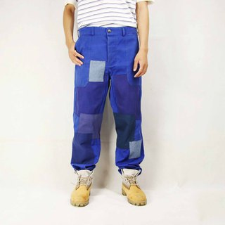 Tsubasa.Y Antique House 006 stitching European work pants, tooling blue trousers work pants