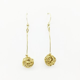 Laolin groceries l brass hand made earrings - chaotic in the order of long version ear hook l ear pin l ear clip