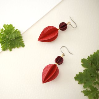 Flower bud earrings-Red-
