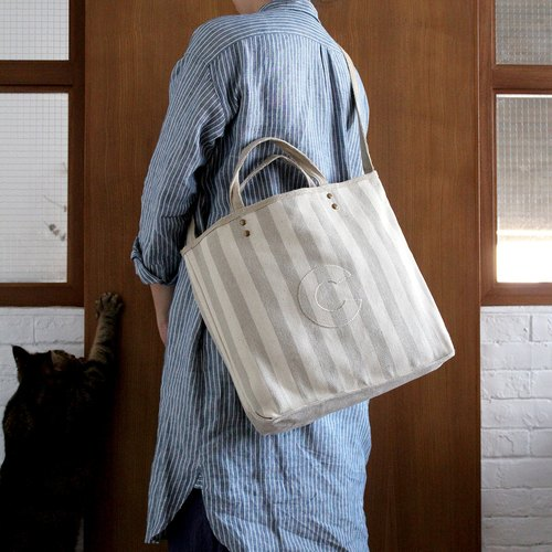 Striped Linen AlphaBAG Customized letter Hand craft Linen 2-way bag
