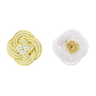 "Mizuhiki Pierced earrings ""Rape blossoms"" -Lemon Gold×White-"