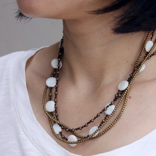 Pearl Brass Woven Necklaces Beaded Multi Strand Short Necklaces