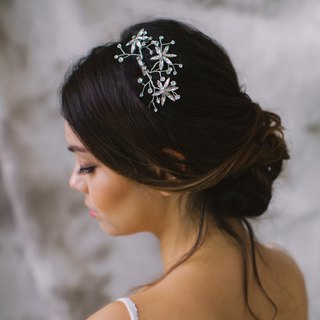 Crystals headpiece  Bridal comb in silver tone