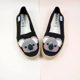 Black cotton hand-made canvas shoes lazy koala bear weaving section