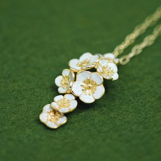 Ume plum blossom necklace - Japanese - pendant and chain - Japanese flower
