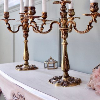 French antique brass four-piece candlestick for sale
