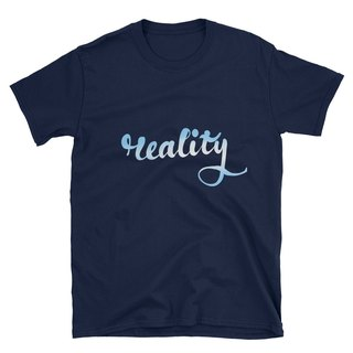 "Short Sleeve T-Shirt - Calligraph ""Reality"" - Blue Sky"