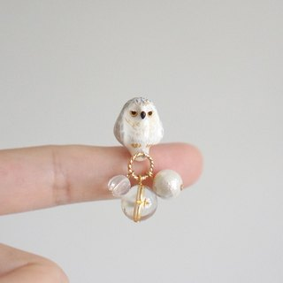 [Unicorn forest clan] snow owl painted dream ring single ear / ear clip
