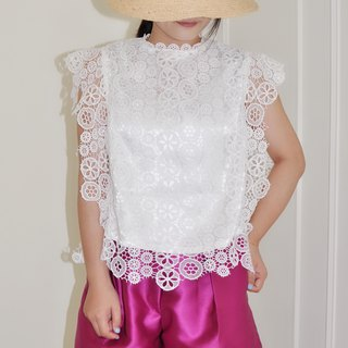 Flat 135 X Taiwan designer circle cotton openwork lace fabric short version of elegant hollow sleeves
