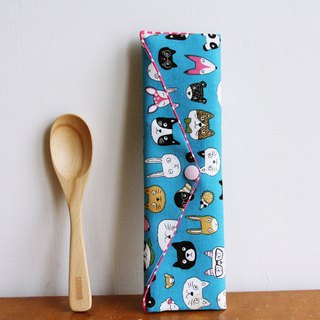 Wen Qing style green chopsticks bag ~ good mood sunny blue storage bag. Green chopsticks bag. Hand made cutlery bag. Exchange gift. Environmental protection. Cute animal