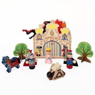 Portable wooden castle playset
