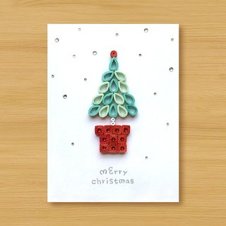 Handmade Roll Paper Christmas Card _ Christmas Wishes Small Potted Merry Christmas_E