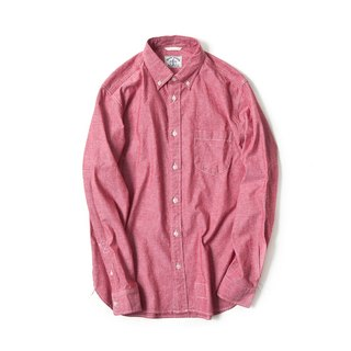 Japanese Chambary Long Sleeve Elbow Patch Shirt in Red