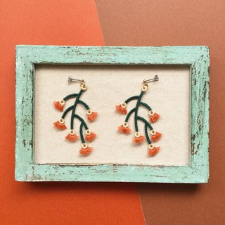 ARRO / Embroidery / Earrings / Branched / Tan