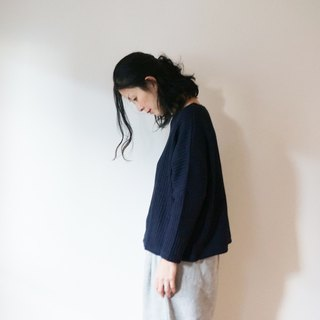 Waffle Drop Shoulder Wide Knit LADY'S NAVY
