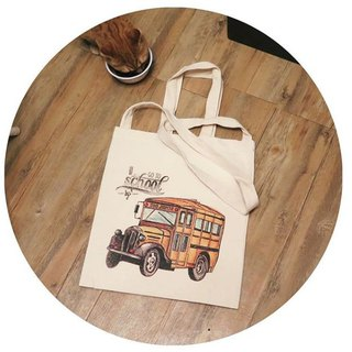 "BatearsWorld hand-painted handprint ""I go to school by bus"" portable / shoulder bag can be customized"