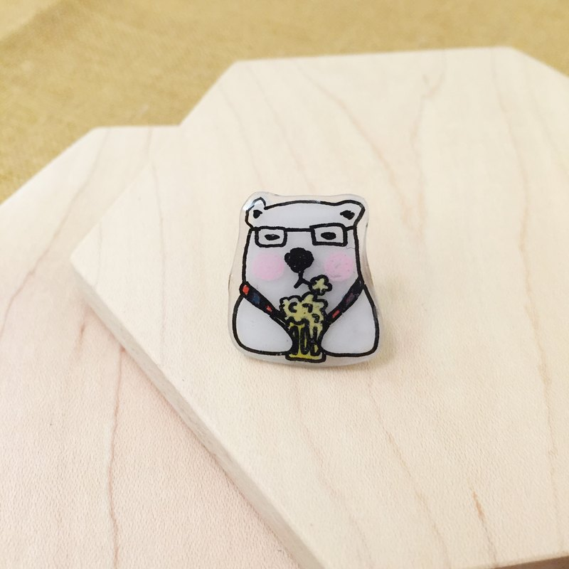 Oops bear  - After work White Bear Brooch