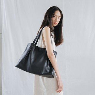 MARRY-LIGHTWEIGHT WOMEN COW LEATHER TOTE BAG- BLACK