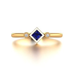 【PurpleMay Jewellery】18k White Gold Natural Sapphire Ring Band R045
