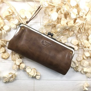 069 GY Long wallet spoonless Unisex Long wallet / Unisex / Gamaguchi / Leather / Leather Costume / neutral / zero / leather / leather