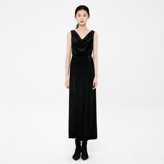 VACAE Draped V-neck shaved shoulder dress