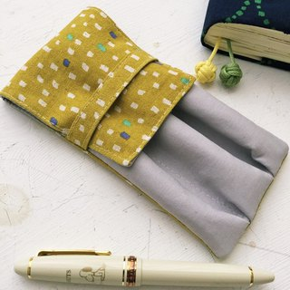 Japanese style small square upright pen pencil case - mustard